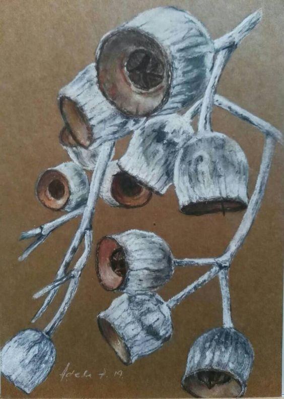 Original Pastel Charcoal Art Botanical Drawing Painting A4