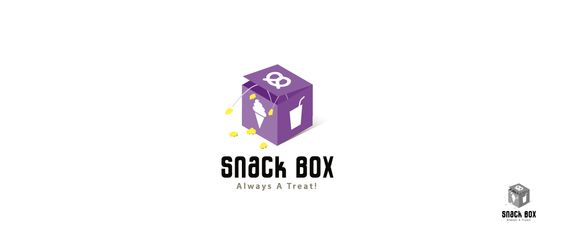 Snack Bar Logo Design for Snack Box | A mysterious box it is. Bounded by six sides, but its depth seems bottomless. What's going to pop out now? No one knows, for what's inside is fathomless! Please visit our website to read more on the design synopsis. #snack #box #popcorn #pretzel #icecream #drink #logo #design #logodesign #branding