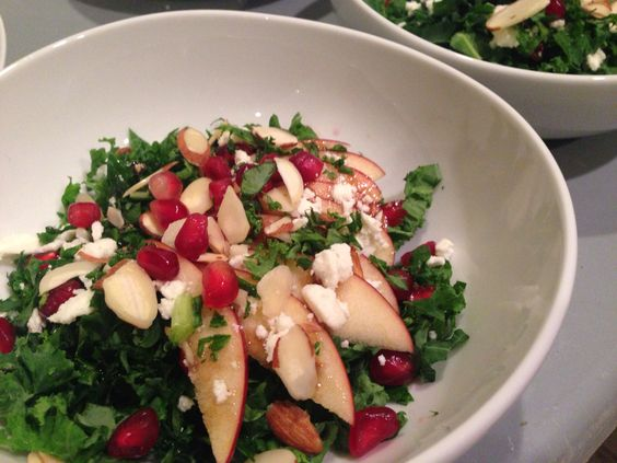 Harvest salad of kale, apples, Pomegranate seeds, feta cheese and almonds #themadplatterkitchen