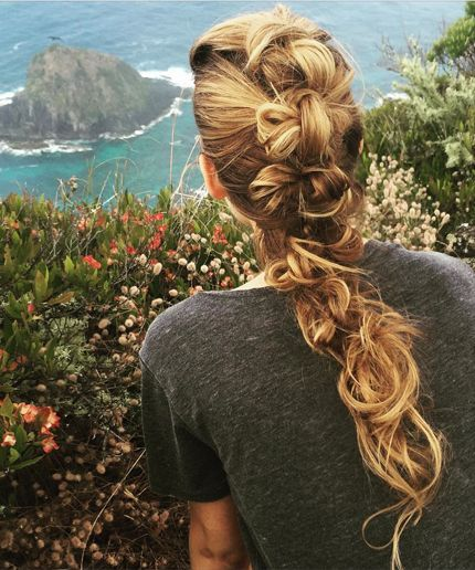 Blake Lively's Workout Braid; the look is, essentially, a knot placed between every full rotation of a French braid.: