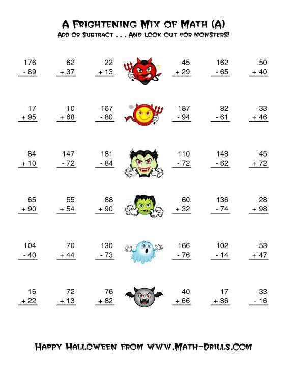 Math worksheets, Math and Halloween on Pinterest