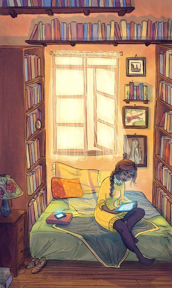Lectura digital, en la intimidad (ilustración de Paper Pie)