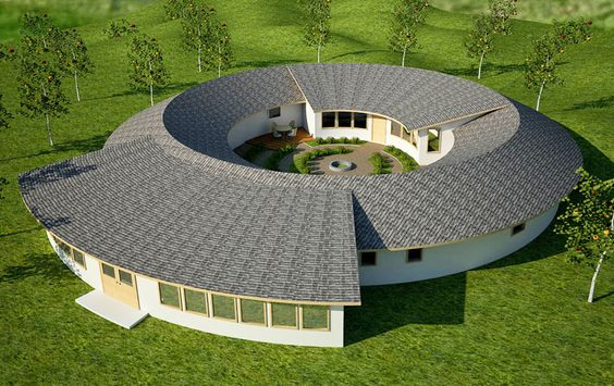 This is a really cool earthbag 2 family residence.: