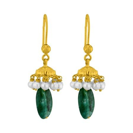 Jpearls Pearl Gold Drop Ear Hangings | Drop Earrings with Pearls and Emeralds #pearlearrings #dropearrings