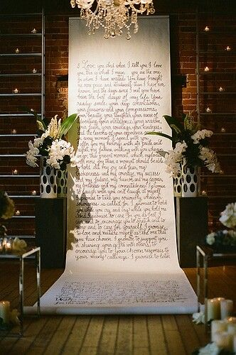 K'Mich Weddings in Philadelphia PA - wedding planning - wedding decor - backdrop - Ceremony background idea! A Scroll displaying your favorite quotes, or anything you want! 👍👌#ceremonyidea #wedding #background