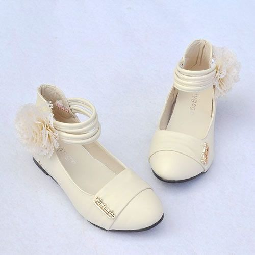 Infant & Toddler Girls Ivory Dress Shoes Flats w. Fabric Flower ...