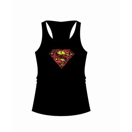 Débardeur Femme Noir Logo Grunge Superman