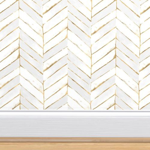 Colorful Fabrics Digitally Printed By Spoonflower Chevron Painted White Gold In 2021 Chevron Wallpaper Wallpaper Faux Walls