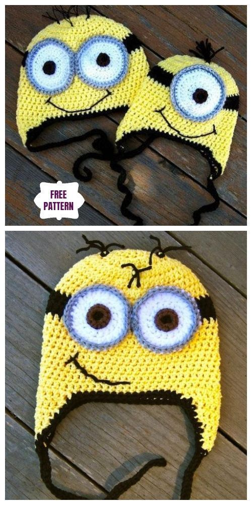 despicable me crochet girl minion inspired beanie hat for baby teen adult