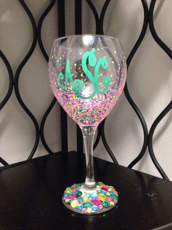 Painted Wine Glass Closet Envy Pinterest Initials