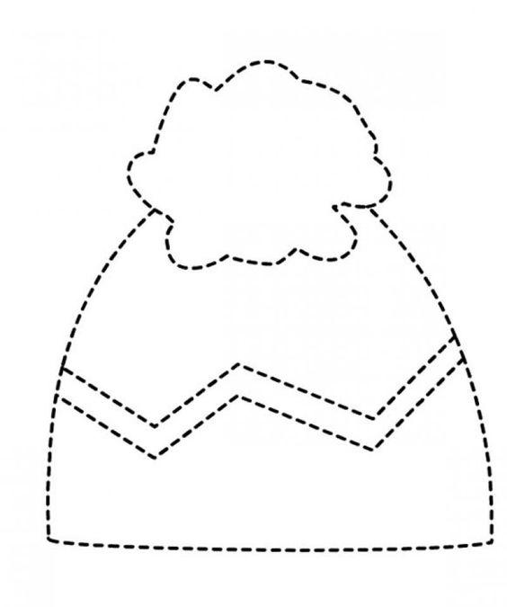 winter hat trace line worksheet (1) | Crafts and Worksheets for ...