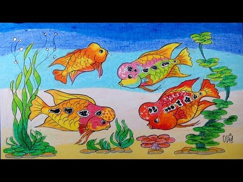 Cara Menggambar Ikan Louhan Dan Tanaman Air Dengan Crayon Oil Pastel Gambar Tanaman Air Tanaman