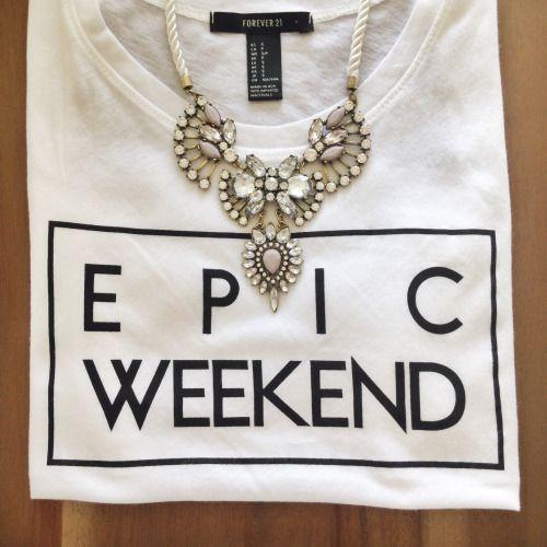 epic weekend tee + statement necklace