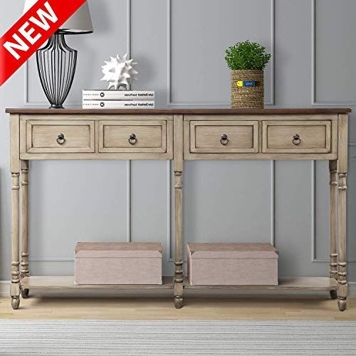 Best Seller Dangruut Updated Version Console Table Entryway 59 Best Hallway Sofa Table Side Cabinet 2 Exquisite Big Drawers Storage Shelf Retro Solid Wood In 2020 Wood Console Wood Console Table Console Table