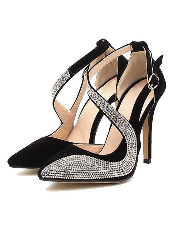 Black Rhinestone Heeled Sandals