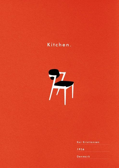 Kitchen Art Print Mid Century Chair Poster Retro Danish Modern Illustration Typography 19 00 Via Etsy Ch Graphic Design Posters Retro Poster Modern Poster