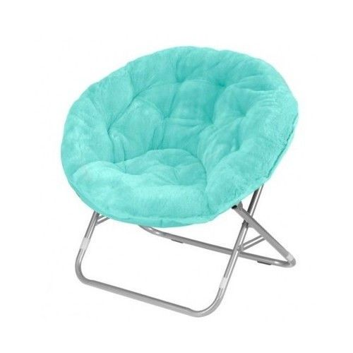 Aqua Saucer Chair Folding Moon Bedroom Round Dorm Furniture Padded Living Sea