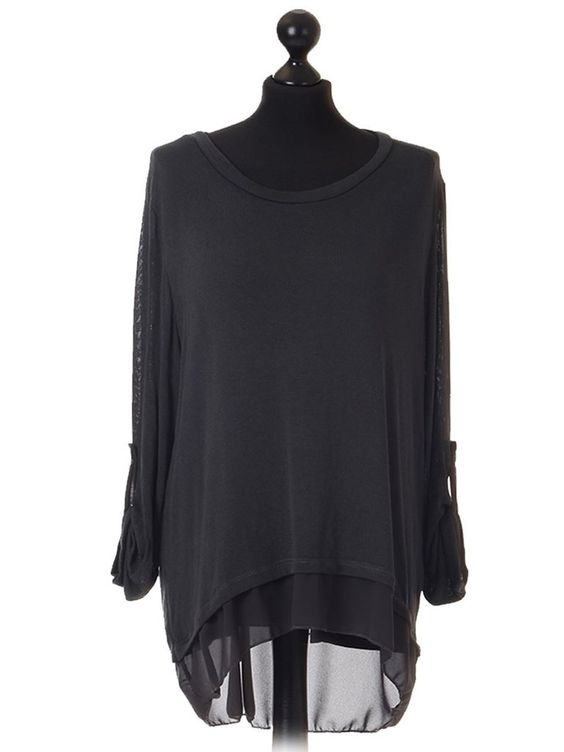 Lagenlook split back with button detail Italian top - Charcoal - one size