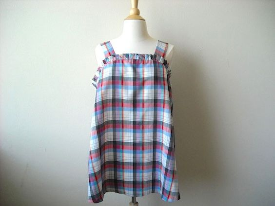 Vintage Plus Size Plaid Ruffle Tank by Baxtervintage on Etsy, $27.00