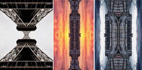 Ele retrata prédios e monumentos históricos pelo mundo através de seus reflexos