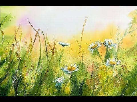 Aquarell Wiese Malprozess Aquarell Landschaften Wasserfarbe Blumen Aquarellbilder
