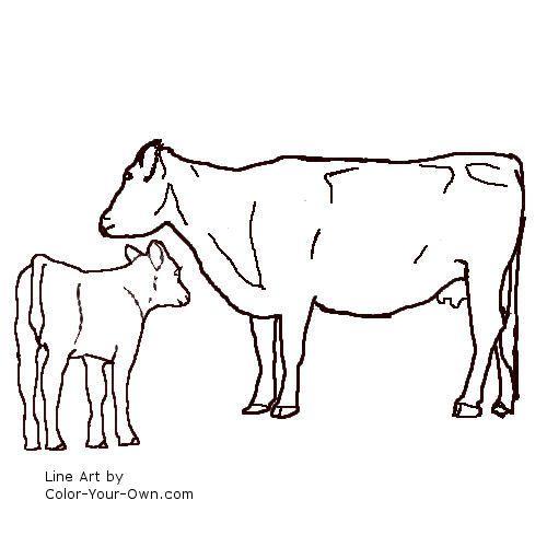 Line Art Cow : Angus cow and calf line art teaching nino to read