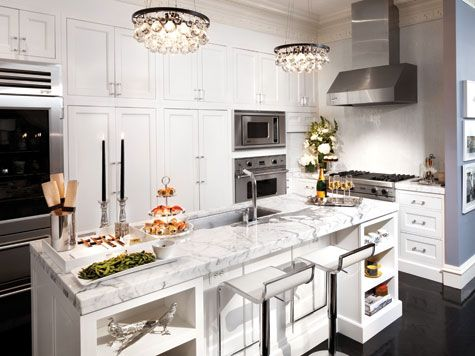 At Home With Design Pros Lori Graham  Marble Island Marbles And Glamorous Kitchen Chandeliers Decorating Inspiration