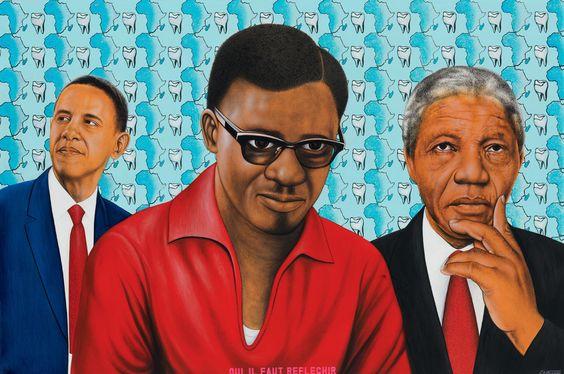 """Quand il a découvert l'art populaire congolais, le commissaire de l'exposition, André Magnin, galeriste et spécialiste d'art africain, dit avoir été """"saisi par la liberté, la variété, l'humour et la beauté des tableaux"""" qu'il voyait. """"J'étais au cœur d'un art sans théorie ni exégèse qui révélait, par l'évocation d'un moment politique ou social, d'un événement minuscule ou écrasant, toute une façon d'être culturelle"""". Ici, Chéri Samba, """"Oui, il faut réfléchir"""", 2014, collection de l'artiste"""