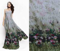 Vintage Roses 100% pura seda de la gasa de seda impresa tela 6 momme para corte y confección por el metro 34682