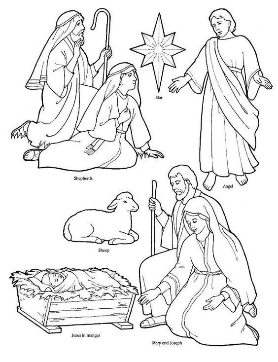 Printable Nativity Coloring Page to cut out and make your ...
