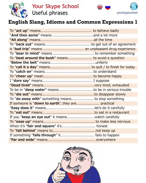 English #slang, #idioms, #common #expressions, #useful #phrases, #yourskypeschool material 1                                                                                                                                                      Más