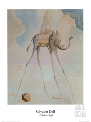 L'Elephante Giraffe Print by Salvador Dalí at Art.com