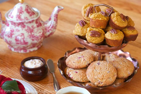 Autumn Tea Party ideas with Pumpkin Muffins and Cranberry Scones...