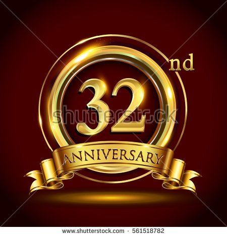 32nd golden anniversary logo, thirty two years birthday celebration with gold ring and golden ribbon.