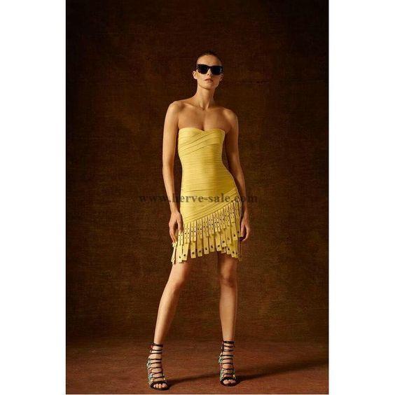 Herve Leger Yellow Strips Details Bottom Bandage Dress HL8585Y