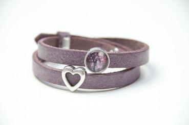 Just Trisha - Wickelarmband Leder in Violett mit Herz