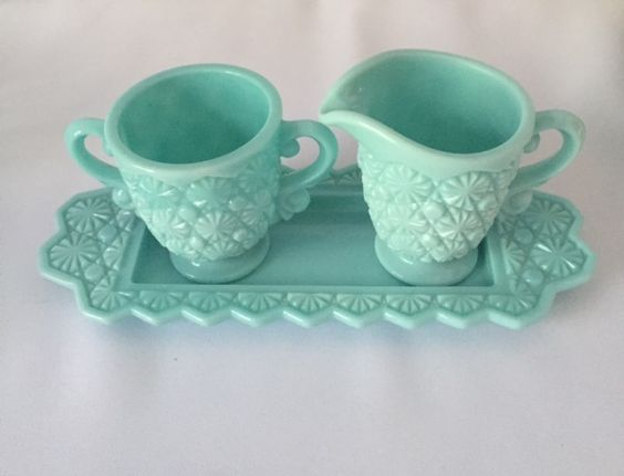Fostoria Daisy And Button Sugar And Creamer Set With Tray