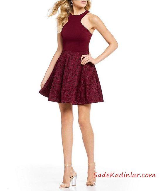 2019 Klos Abiye Modelleri Bordo Kisa Boyundan Askili Kolsuz Klos Etekli The Dress Elbiseler Elbise