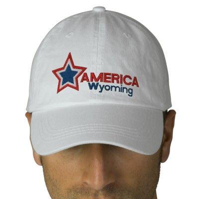 USA Star Wyoming Embroidered Baseball Cap | Zazzle