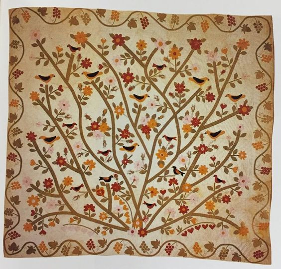Original Tree of Life, made by Sarah Bennington Rickett (1835-1915), Chula, Missouri, 1898. Cotton. 82″ x 88″. Documented during the Oklahoma Heritage Quilt Project 12376282_10153222804201641_2938221495655255385_n.jpg (960×919)