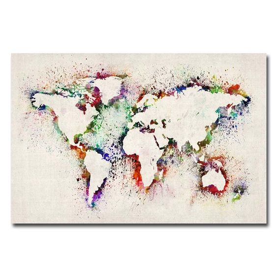 World Map Paint Splashes Canvas Art by Michael Tompsett - 16 x 24 in. | Find it at the Foundary. This seems like it would be easy to replicate.