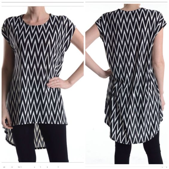 Our B&W Chevron Tunic fits true to size.  $24 S•M•L•XL Follow us on IG: ShopHelloDarling