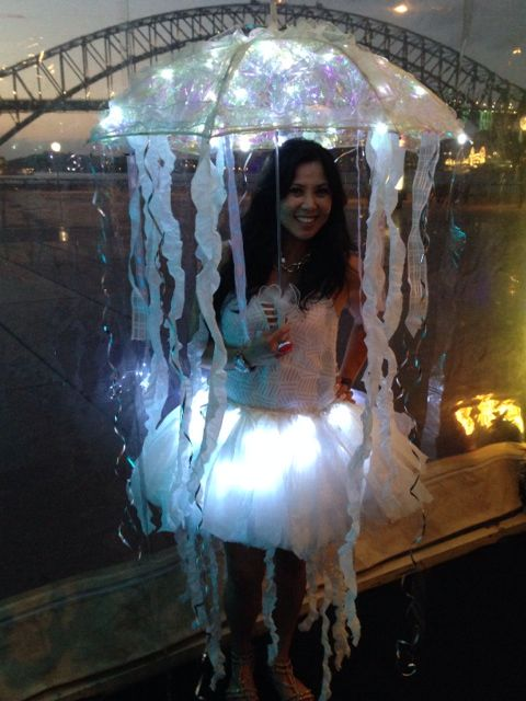 Jelly Fish Costume Made From Recycled Plastic Grocery Bags