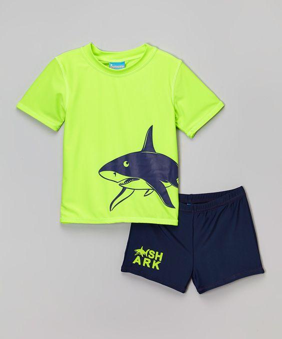 Sweet & Soft Green Shark Rashguard Set - Toddler by Sweet & Soft #zulily #zulilyfinds