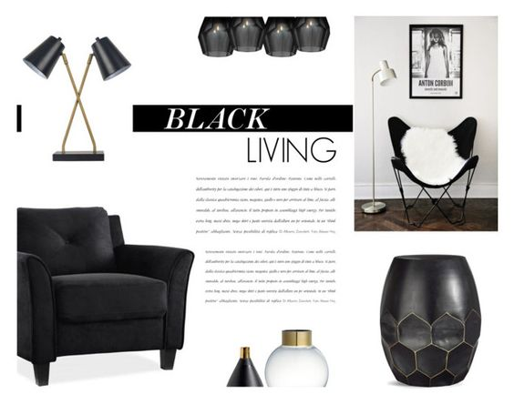 """Black Living"" by canvas-moods ❤ liked on Polyvore featuring interior, interiors, interior design, home, home decor, interior decorating, Threshold, LifeStyle Solutions and Eichholtz"