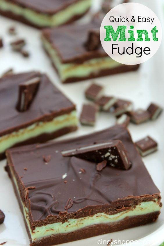 Mint Fudge Recipe. Quick and easy great for St Patrick's Day!
