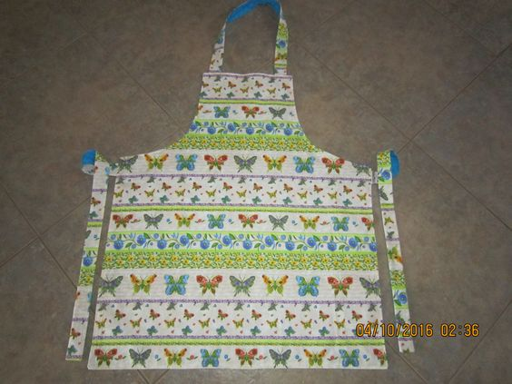 Butterflies and Flowers Cotton (turquoise backing-no pockets) - Adult Sized Apron by ShawnasSpecialties on Etsy