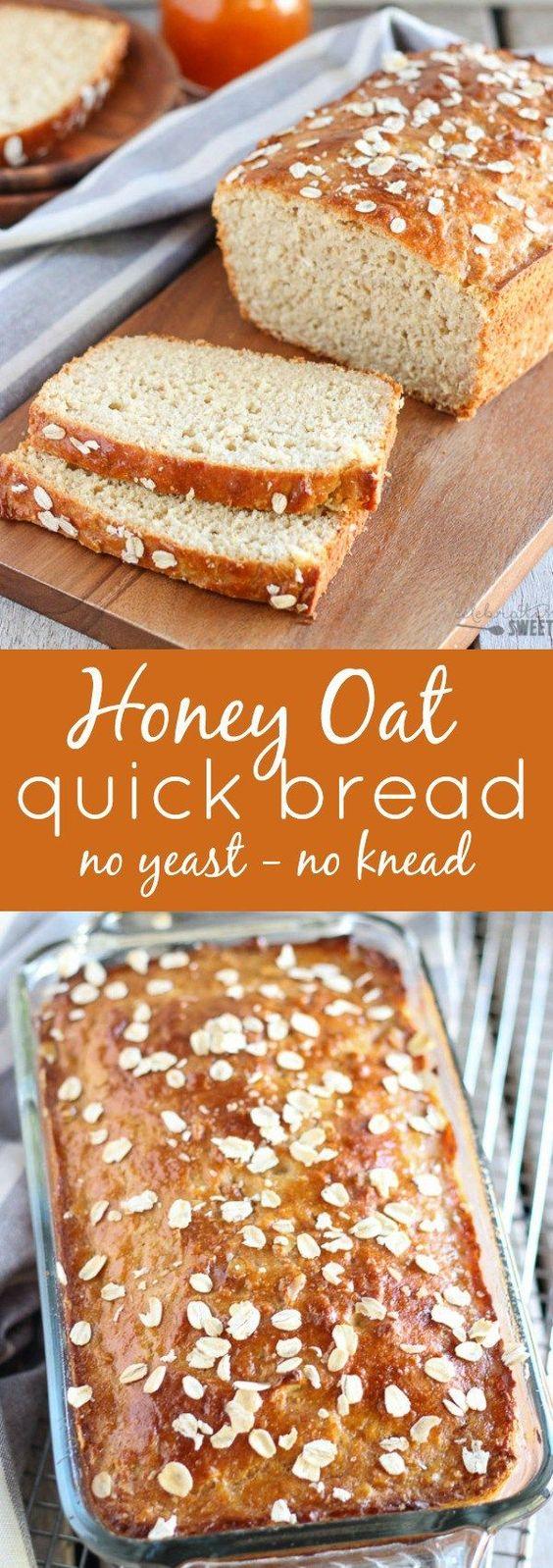 Honey Oat Quick Bread (no yeast, no knead)   Recipe   Quick Bread ...