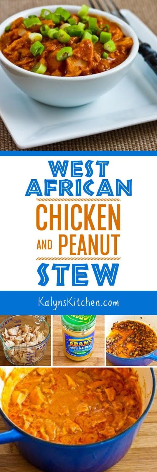 West African Chicken and Peanut Stew with Chiles, Ginger, and Green Onions is a delicious dish that starts with leftover chicken and it's low-carb, gluten-free, and dairy-free! [found on KalynsKitchen.com]