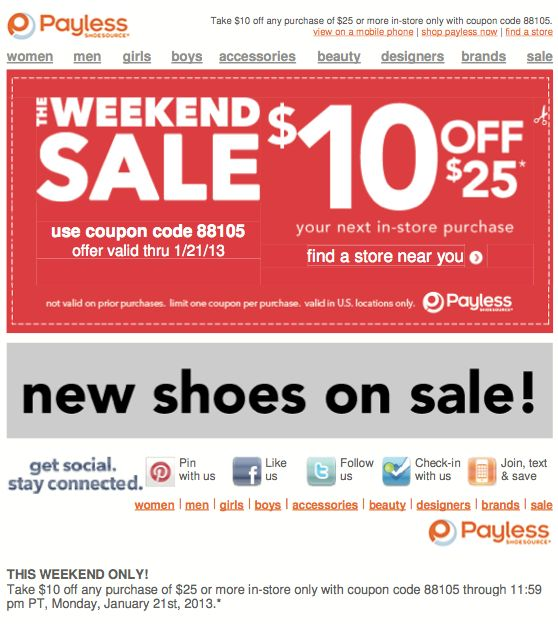 Payless Shoes $10 off $25 Printable Coupon Coupons Pinterest - coupon disclaimer examples